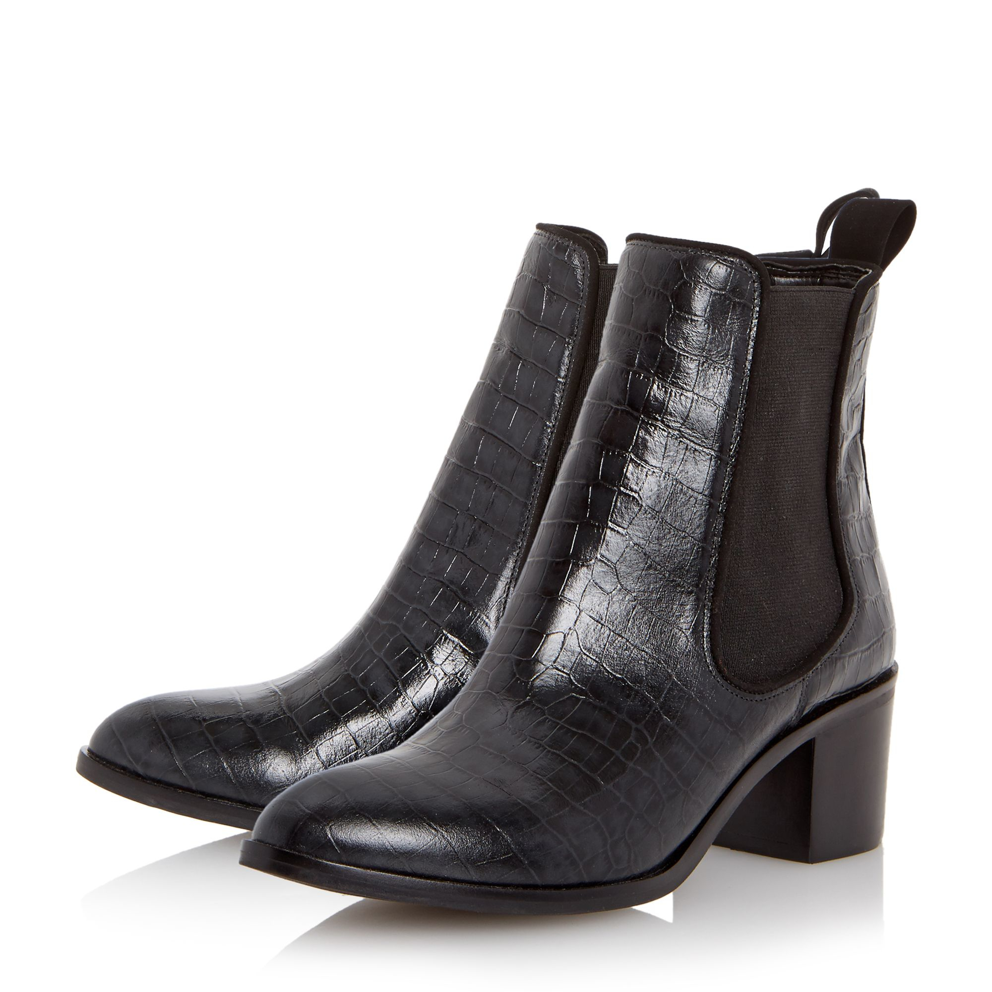 dune quaide mock croc heeled chelsea boots in black lyst