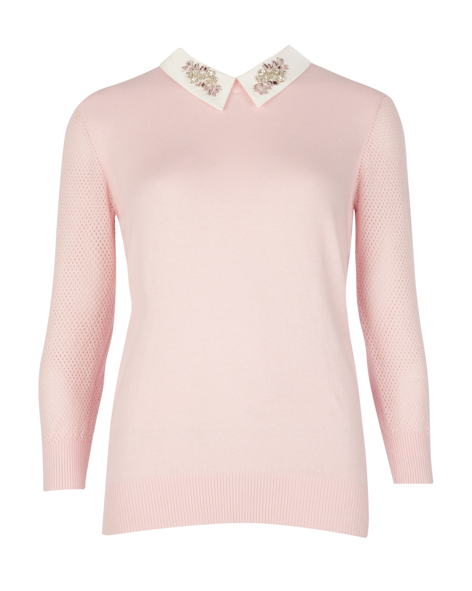 Ted baker Embellished Collar Sweater in Pink | Lyst