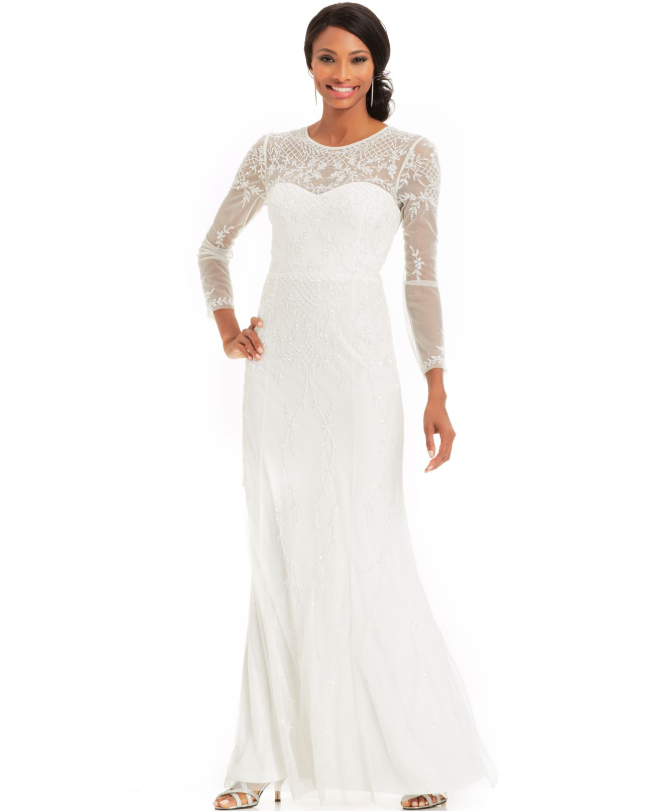 Adrianna Papell Long Sleeve Beaded Illusion Gown In White