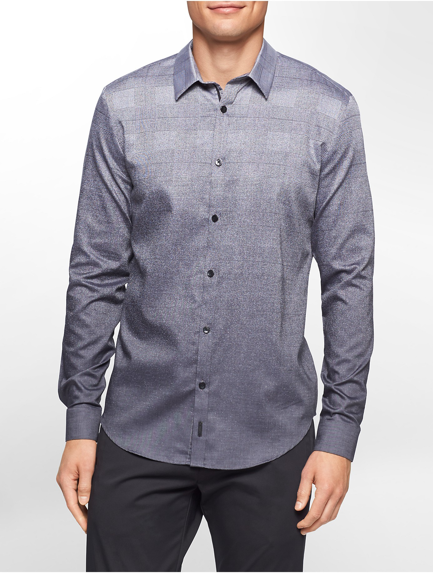 Calvin Klein Premium Slim Fit Ombre Plaid Shirt In Gray