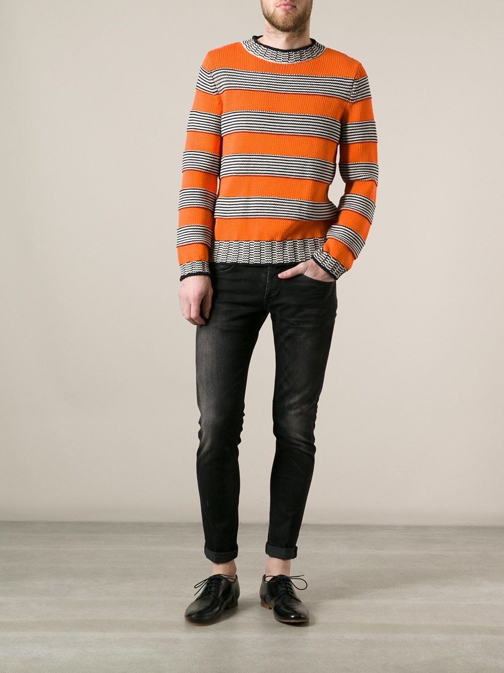 Dondup Striped Sweater in Yellow & Orange (Orange) for Men