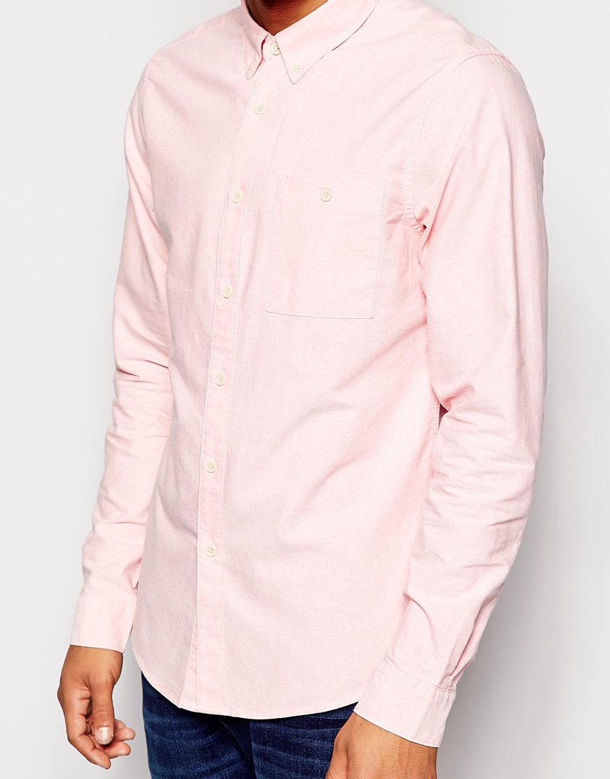 Lyst asos oxford shirt in light pink with long sleeves for Pastel pink dress shirt