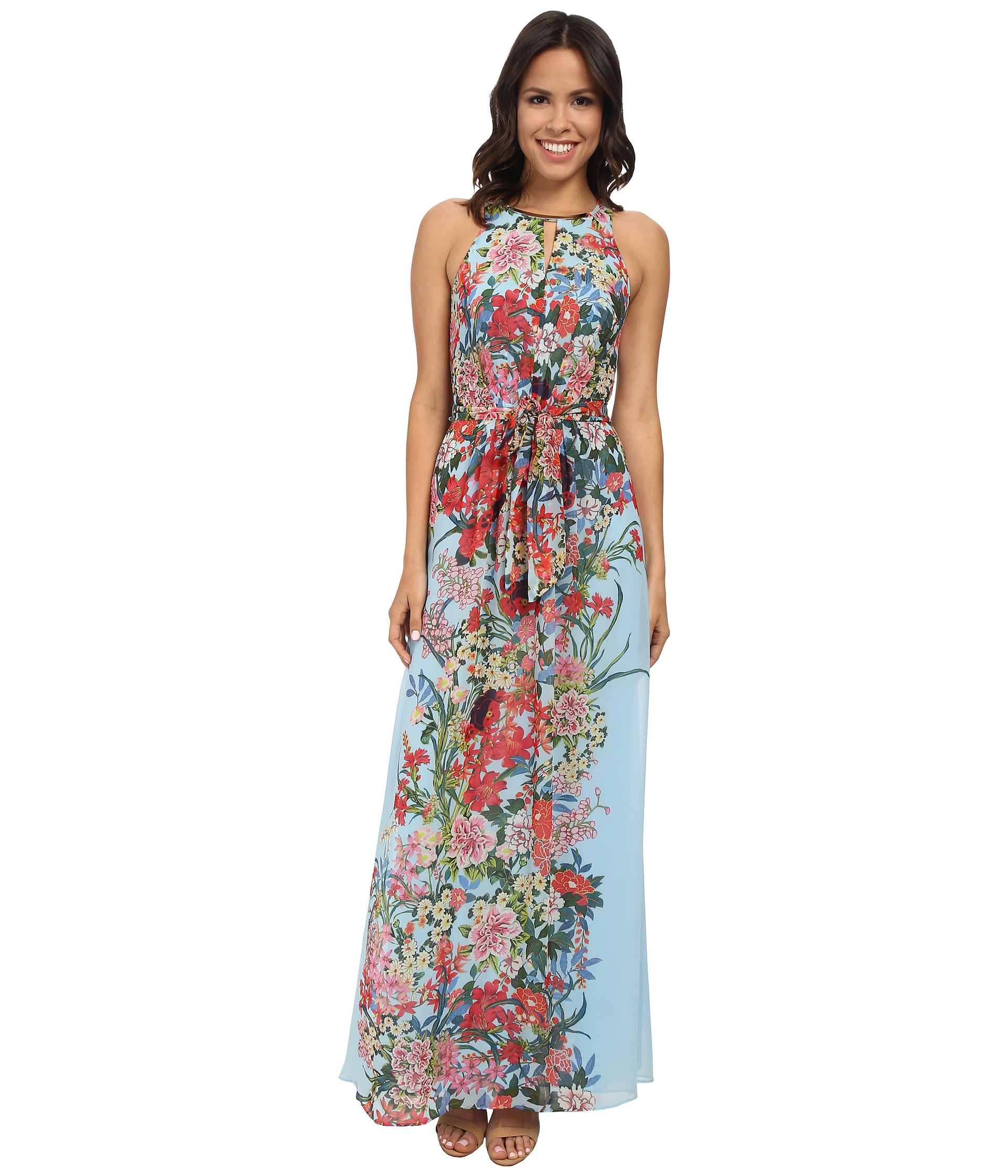 1985a1877e31 Adrianna Papell Blue Printed Multi Floral Halter Long Maxi Dress