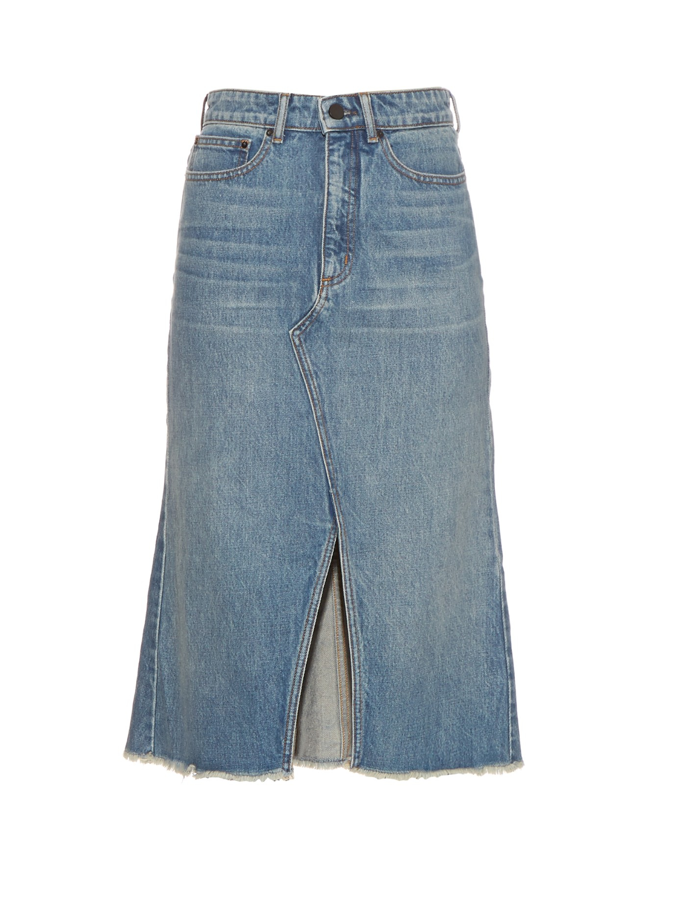 Alexander wang Split-front Denim Skirt in Pink | Lyst