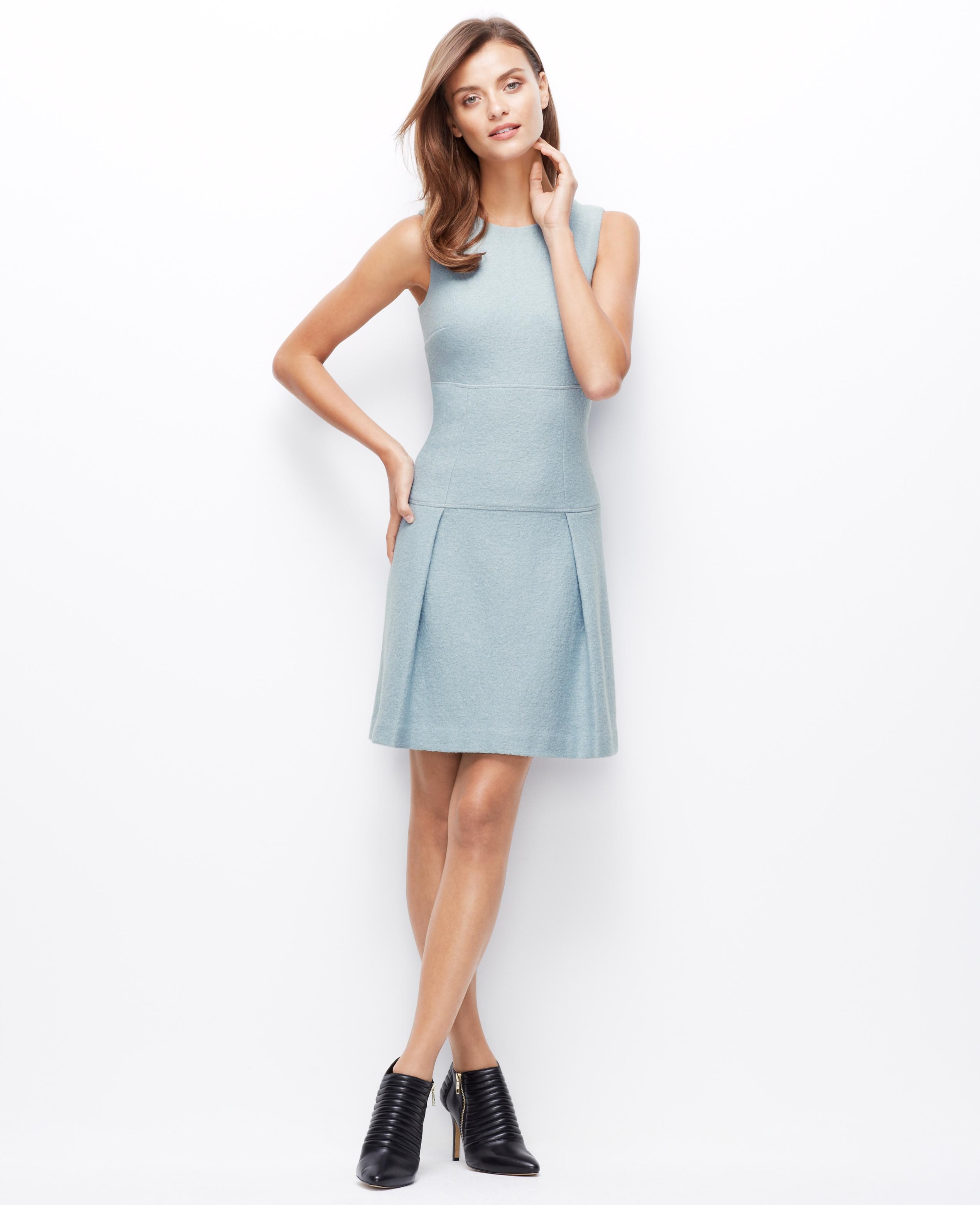 b04f96c1ea Lyst - Ann Taylor Boiled Wool Drop Waist Dress in Blue