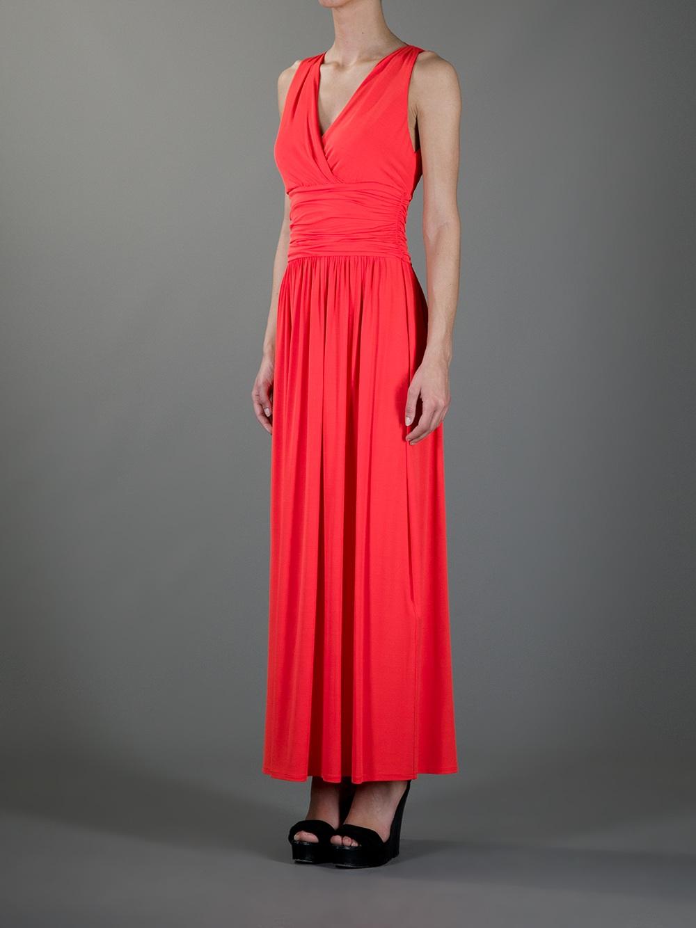 Lyst Max Mara Studio Wrap Around Maxi Dress In Red