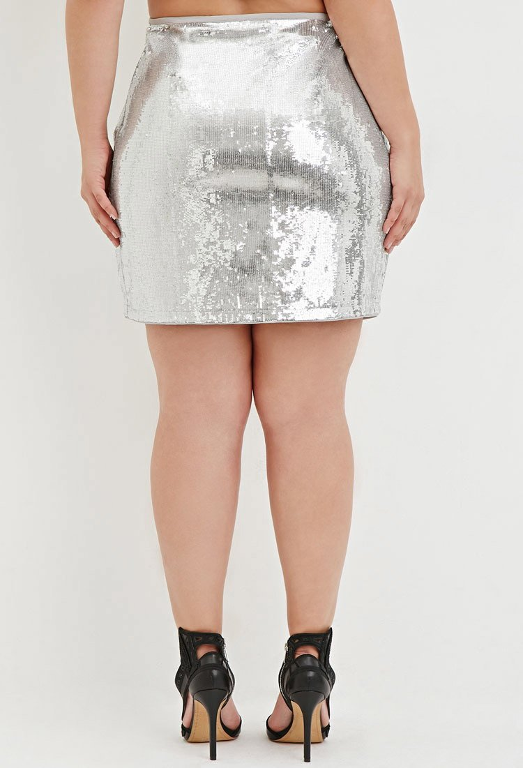 Forever 21 Plus Size Sequined Mini Skirt in Metallic | Lyst