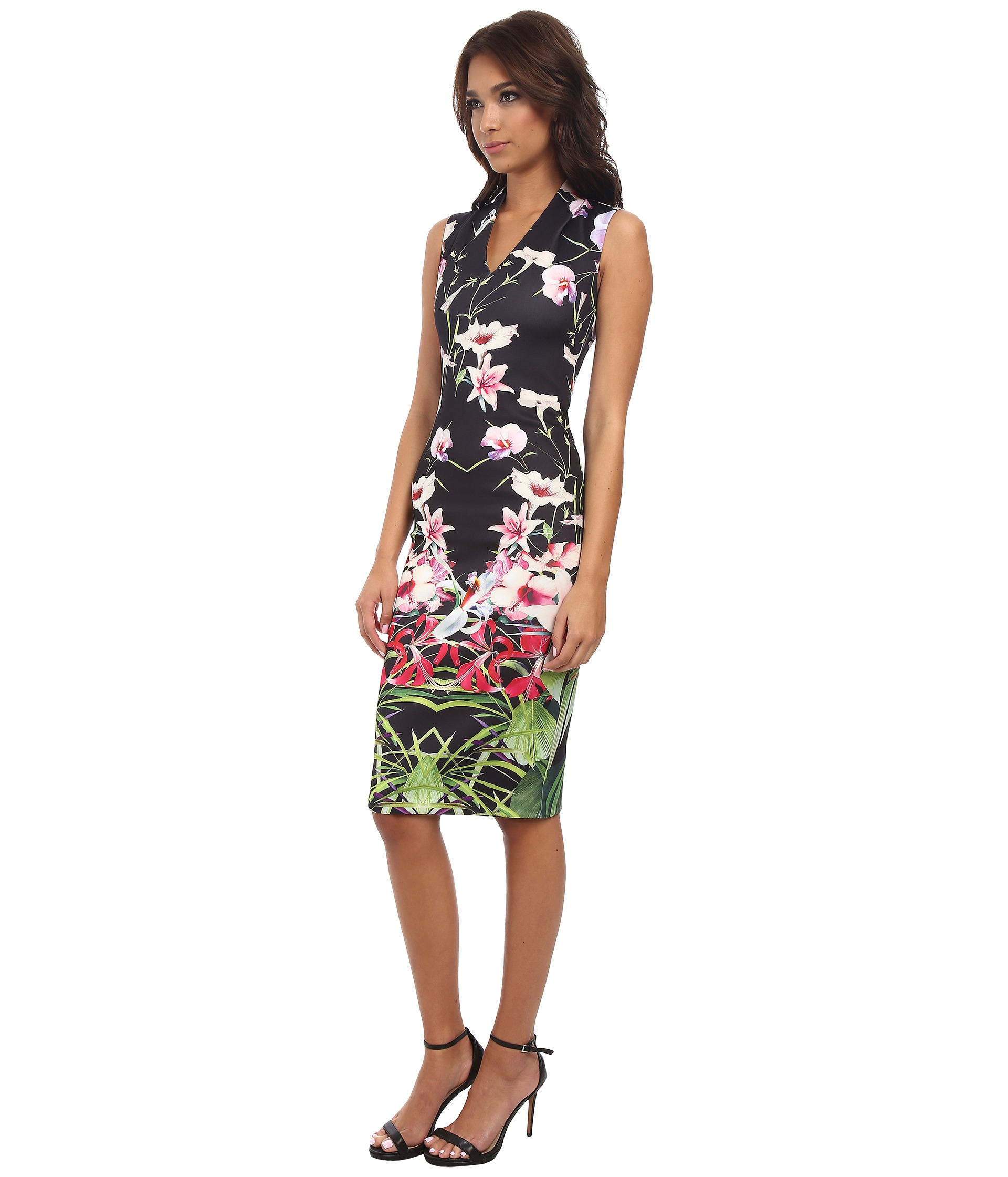 8fe54615b Lyst - Ted Baker Jalita Mirrored Tropics Midi Dress in Black