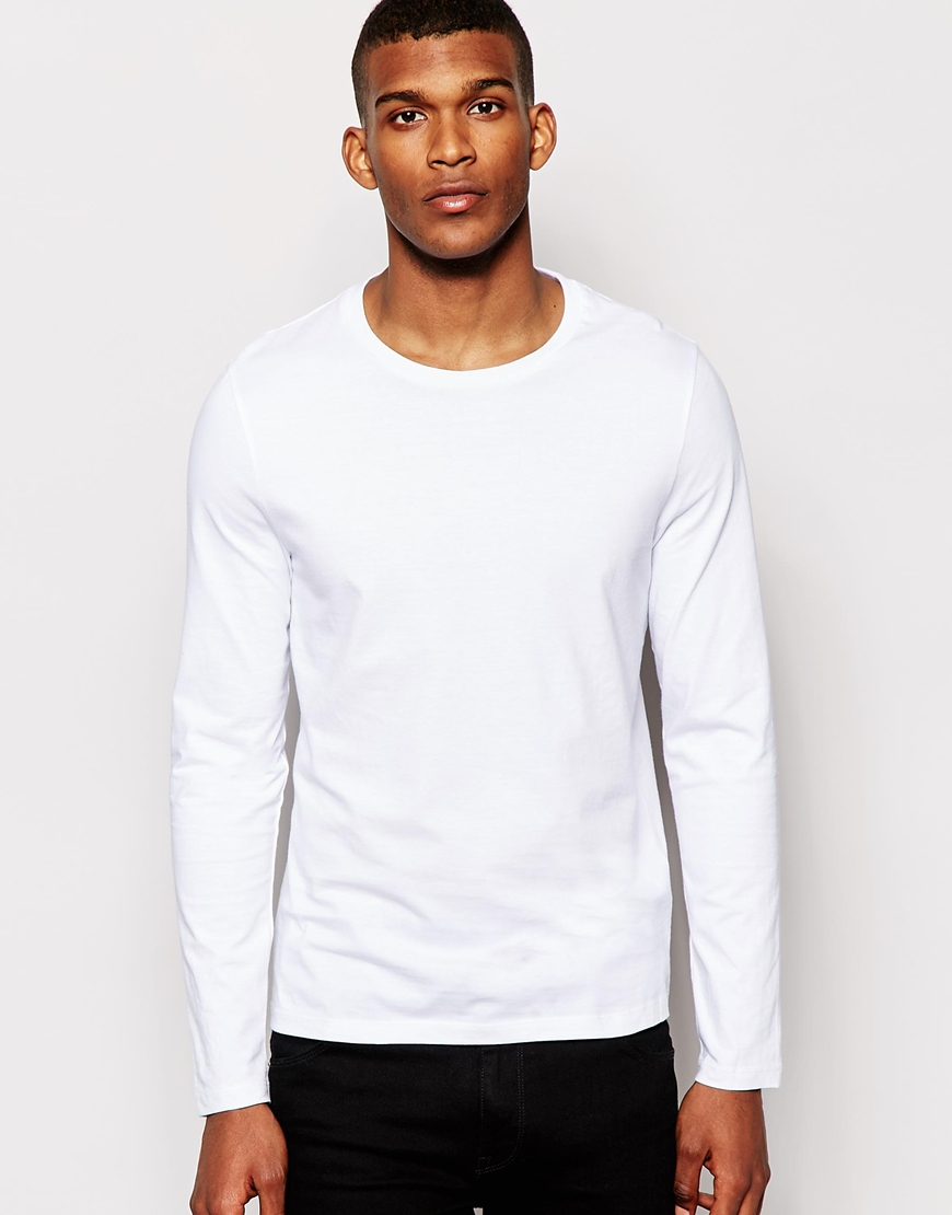 asos long sleeve t shirt with crew neck white in white
