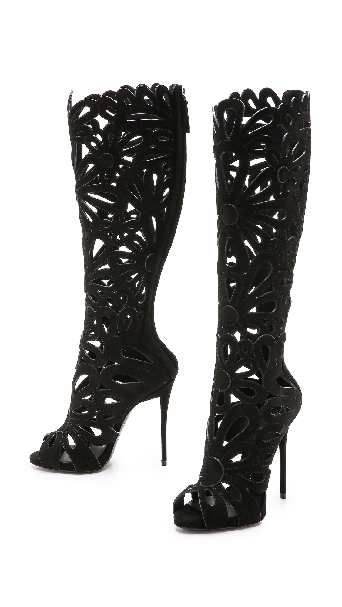Giuseppe Zanotti Suede Cutout Boots Black In Black Lyst