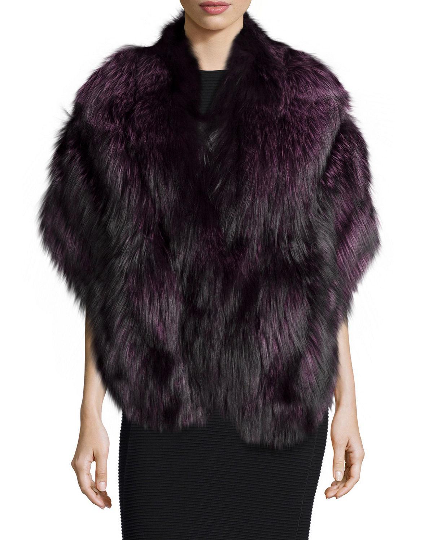 Gorski fox fur stole w leather in purple violet lyst - Stoel fur ...