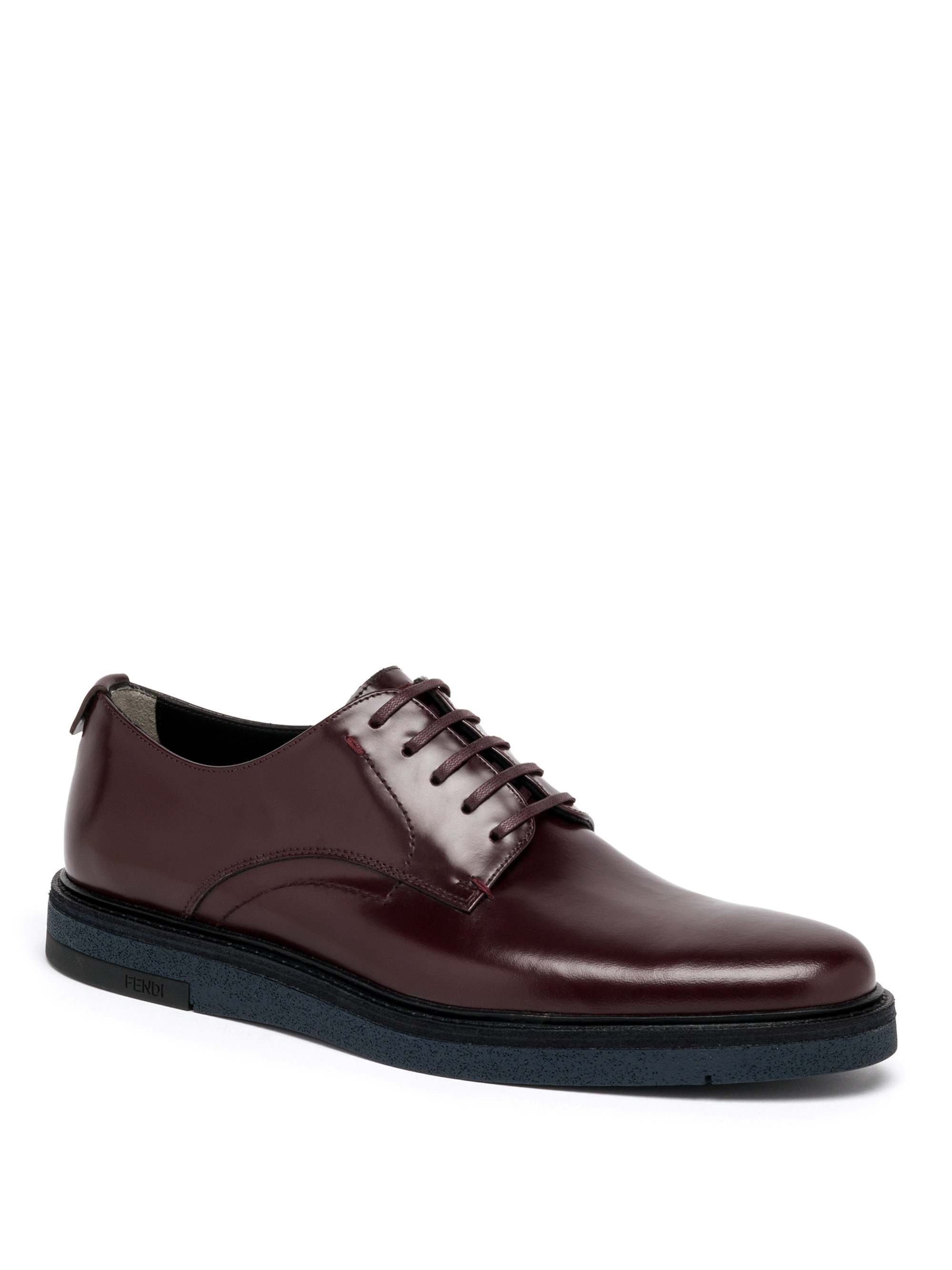 fendi leather derby shoes in purple for lyst