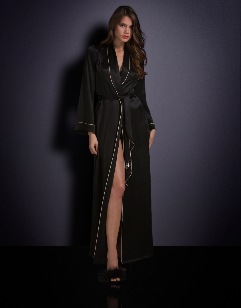 Agent Provocateur Long Classic Dressing Gown Black in Black - Lyst