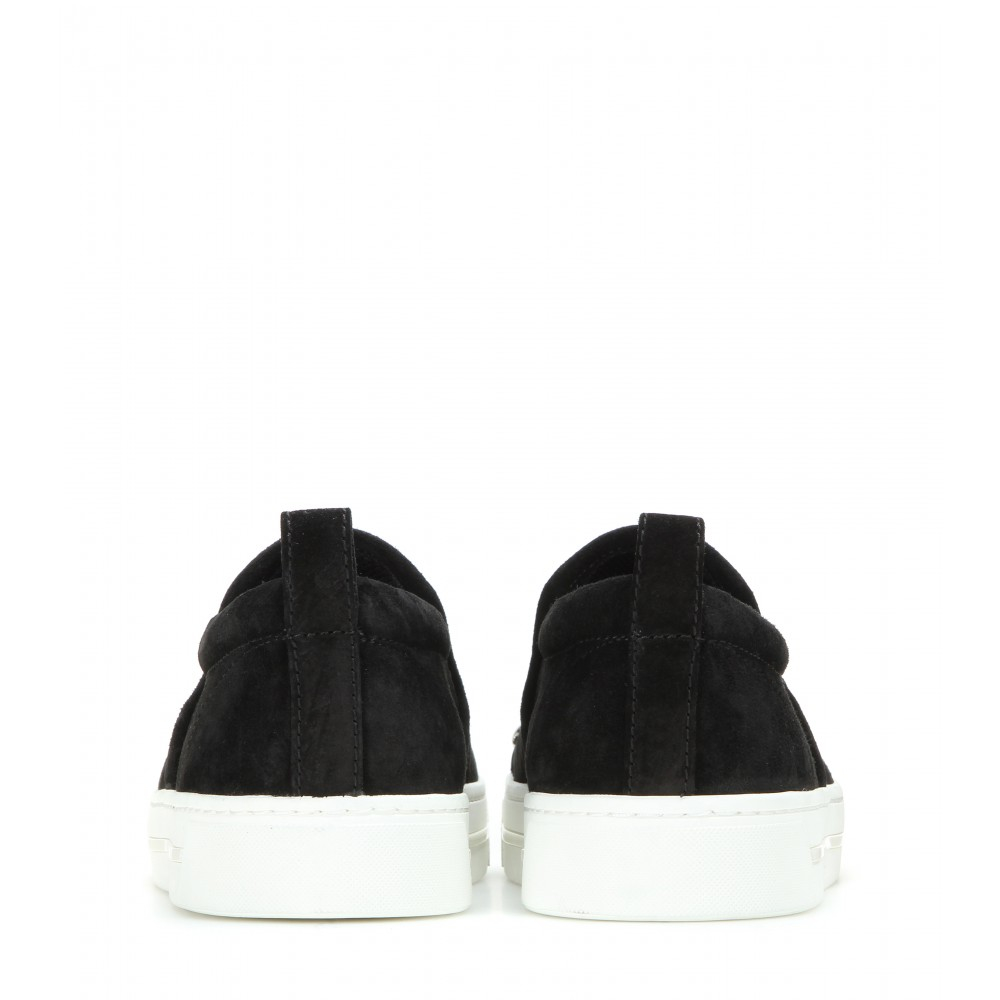 Marc By Marc Jacobs Embellished Suede Slip-on Sneakers in Black