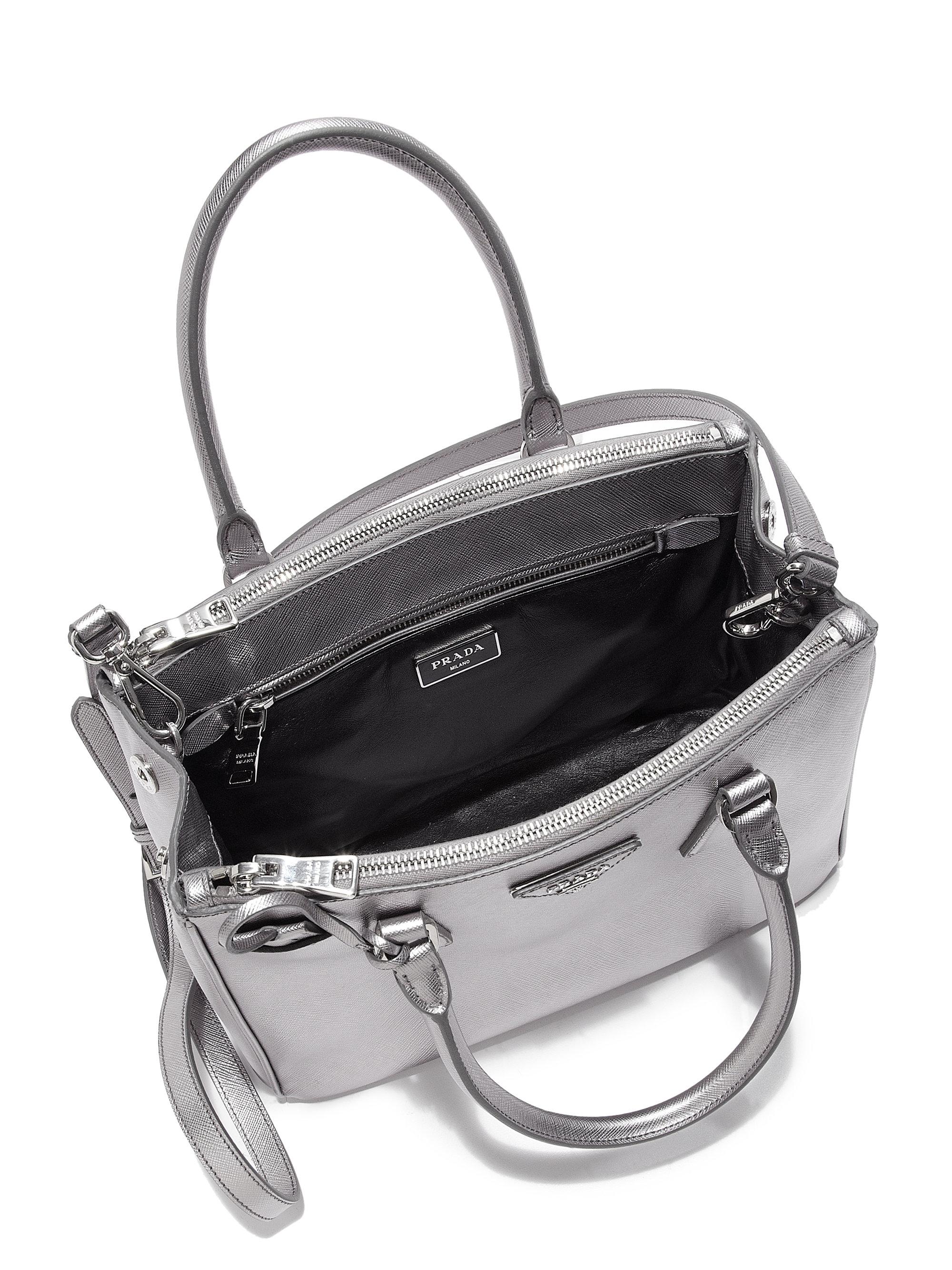 Prada Saffiano Lux Small Metallic Double-zip Tote in Silver (CROMO ...