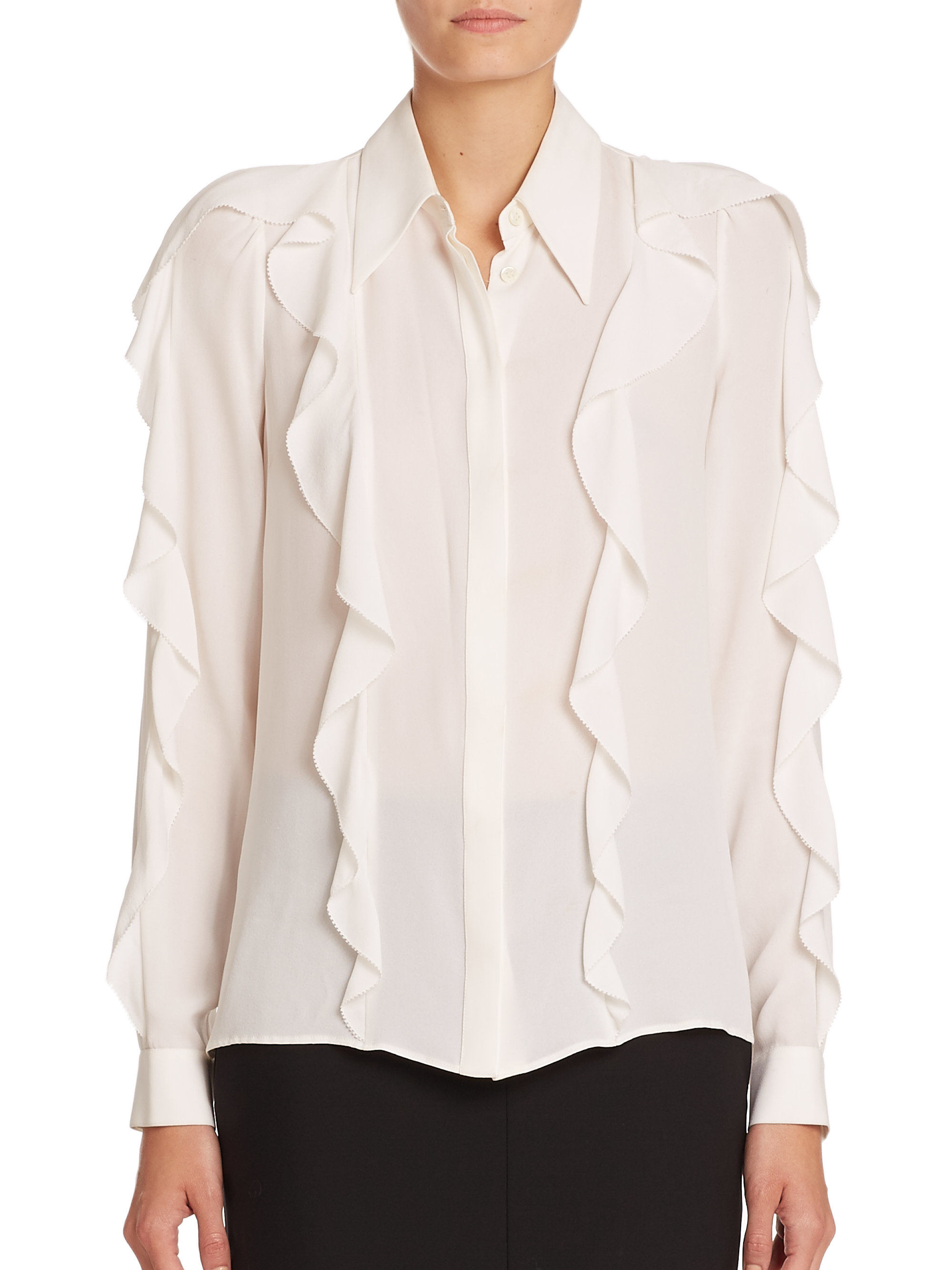 White Silk Georgette Blouse 70