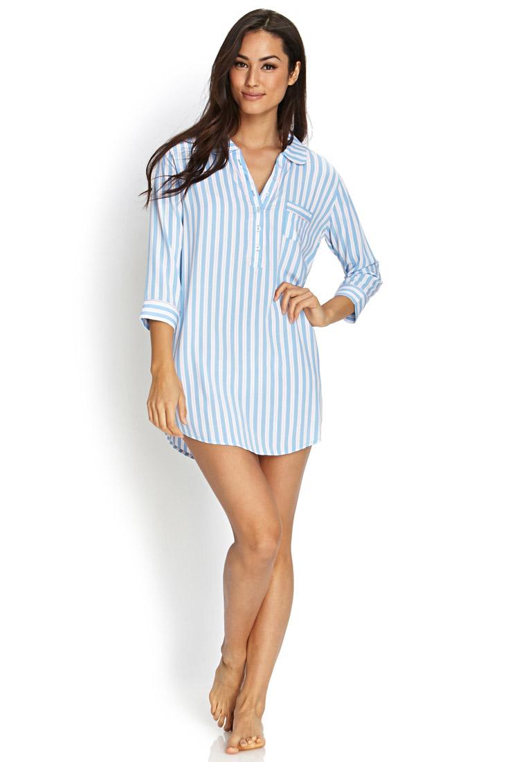 Forever 21 Striped Boyfriend Sleep Shirt In Blue Lyst