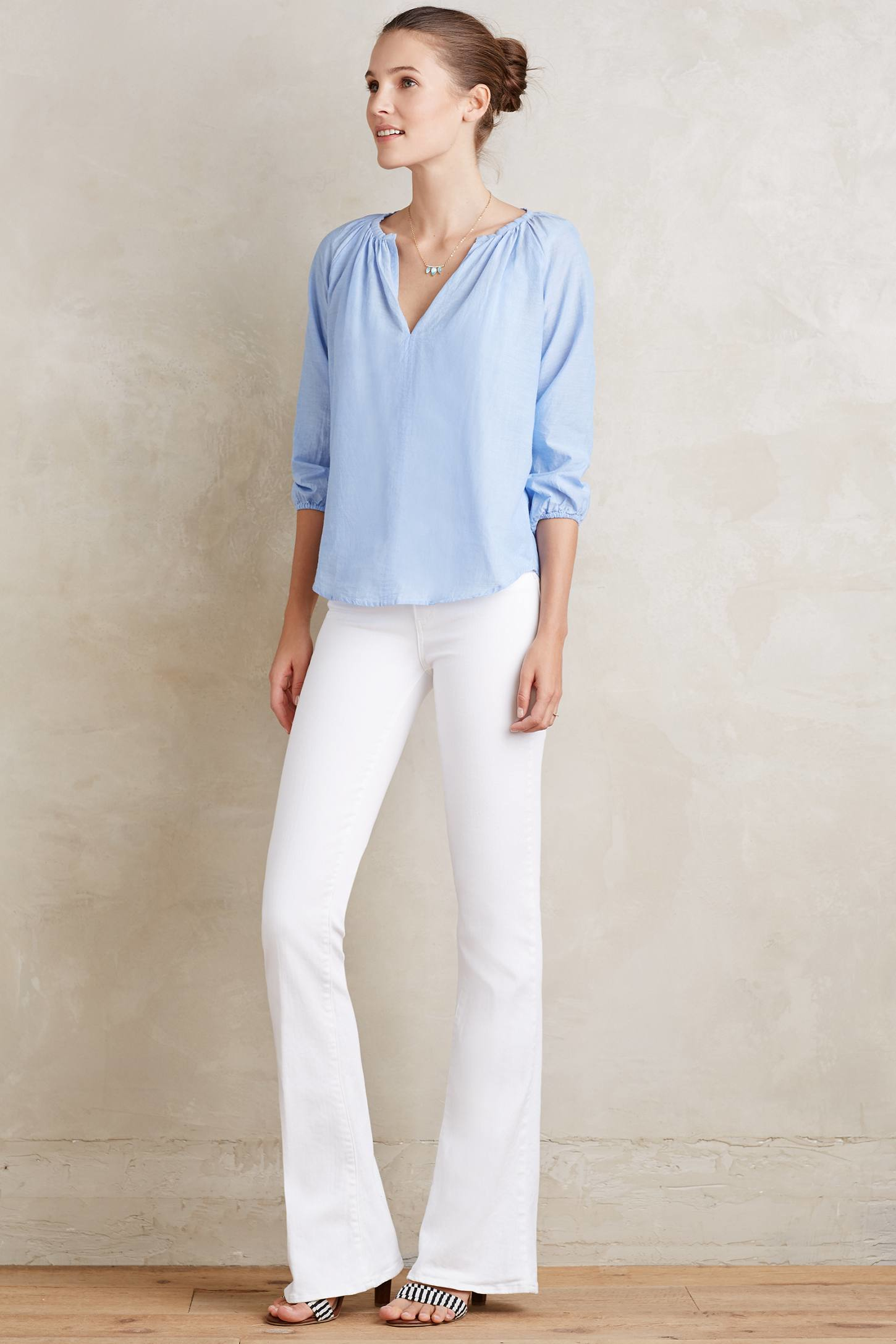 Paige Lou Lou Flare Jeans in White | Lyst