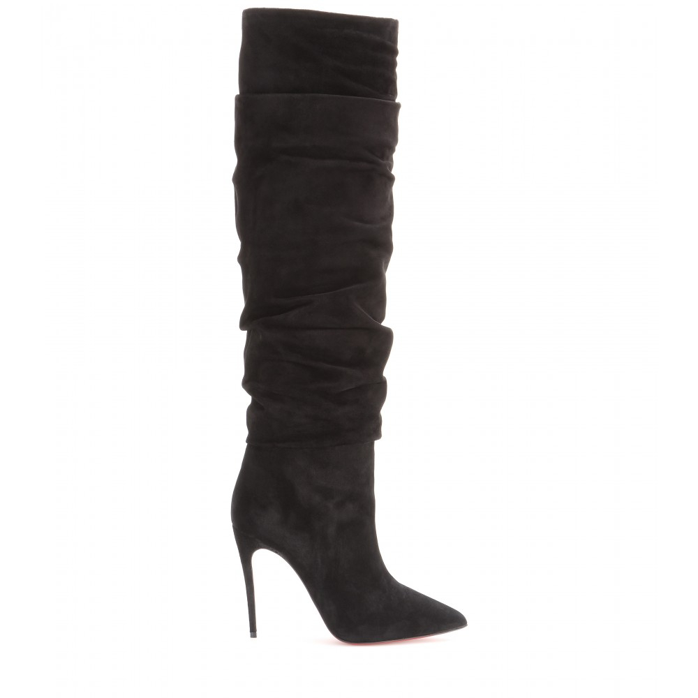 Christian Louboutin Ishtar Botta 100 Suede Boots in Black