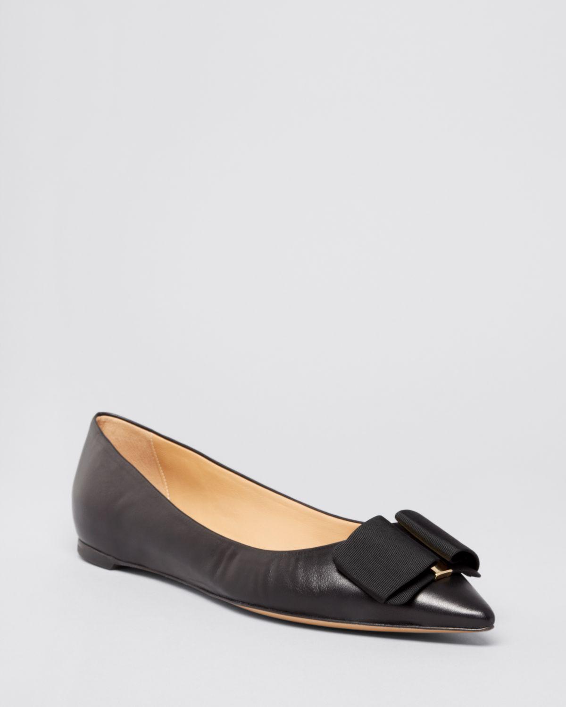 Ferragamo Pointed Toe Flats - Mimi Bow