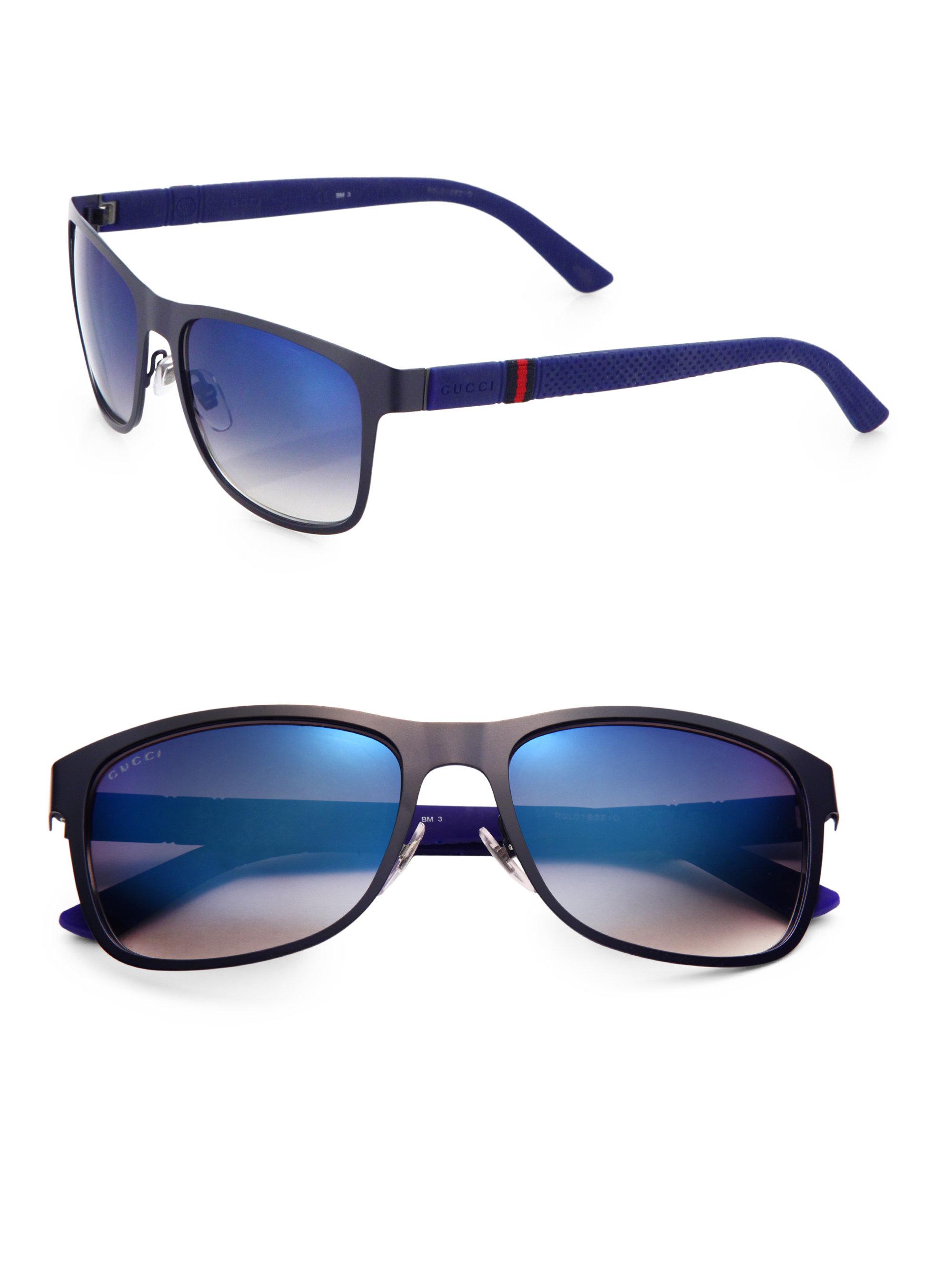 Lyst - Gucci 56mm Wayfarer Sunglasses in Blue for Men ddfd43fa8
