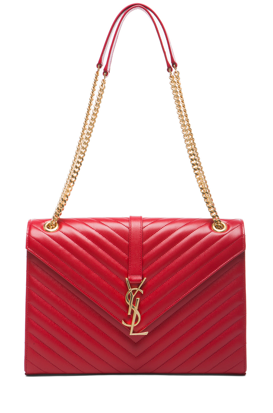 Authentic Yves Saint Laurent Red Smooth Calfskin Leather Lutetia Flap Clutch Bag at Yoogi's Closet. Condition is Like new Saint Laurent Paris is the rebranded version of the house of Yves Saint Laurent with creative director Hedi Slimane at the helm.