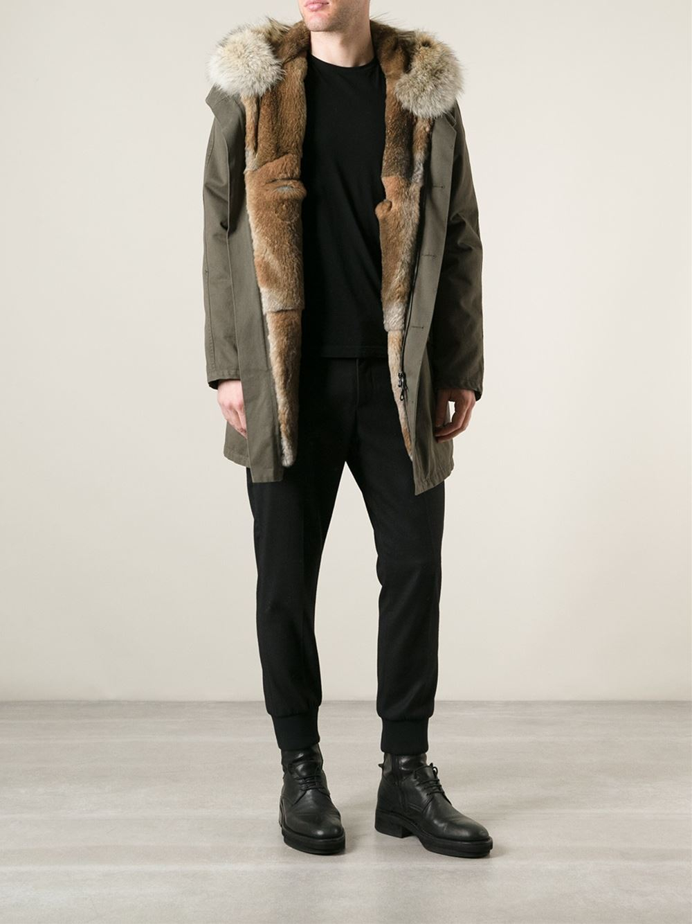Gallery - Yves Salomon Rabbit And Coyote Fur Lining Parka In Green For Men