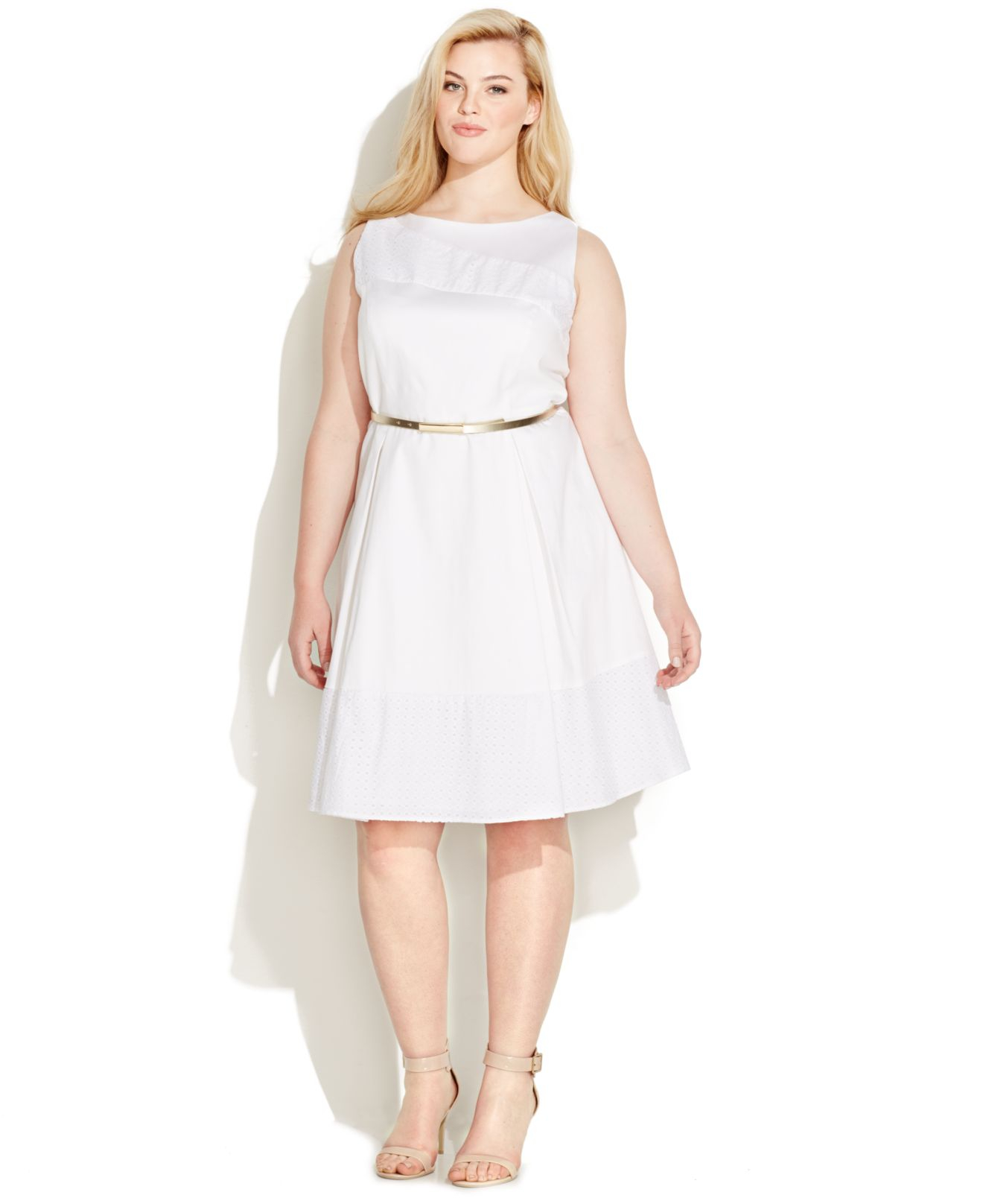 Calvin Klein White Plus Size Eyelet Belted A-line Dress