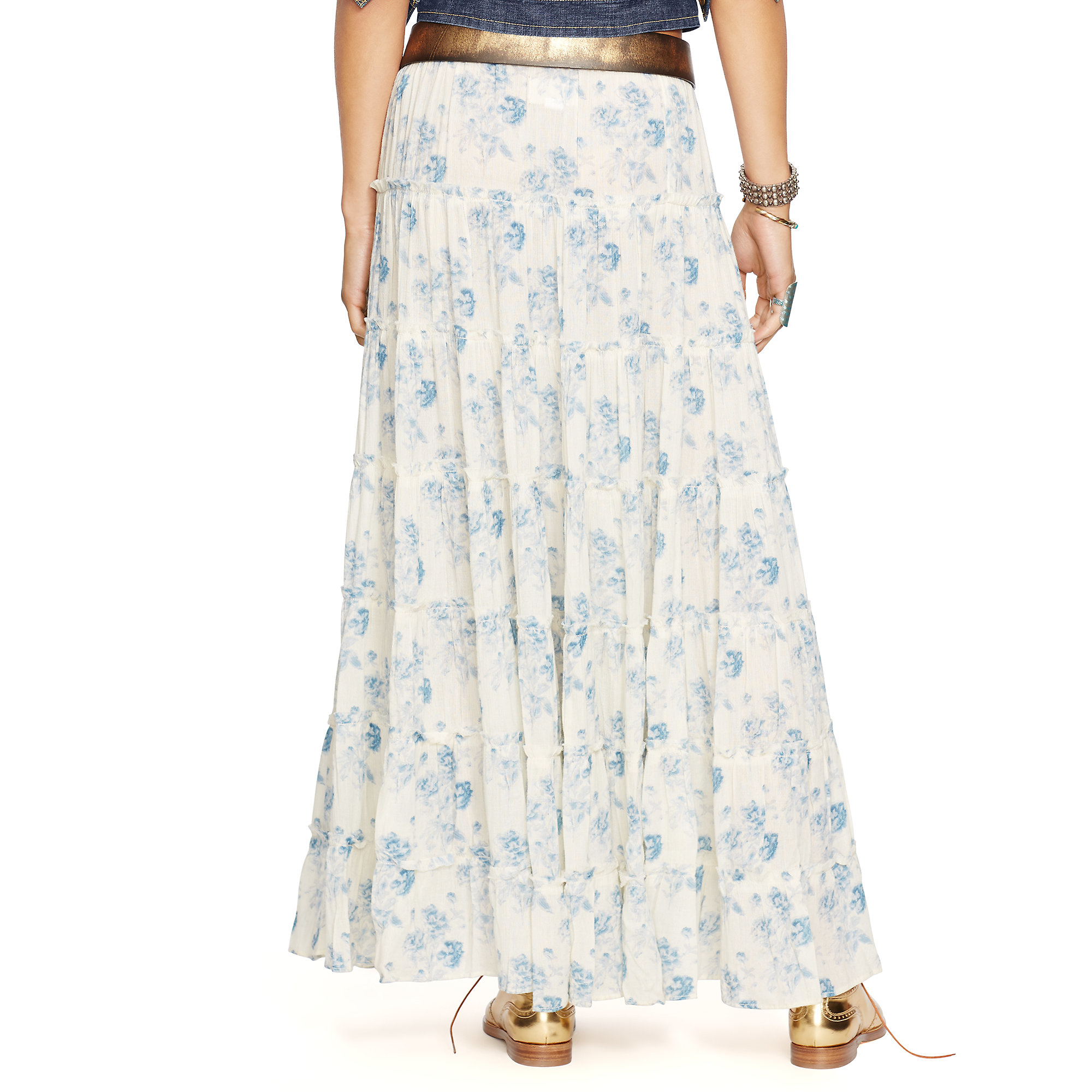 d7b6db9f9e Denim Supply Ralph Lauren Fl Print Tiered Maxiskirt In Blue Lyst