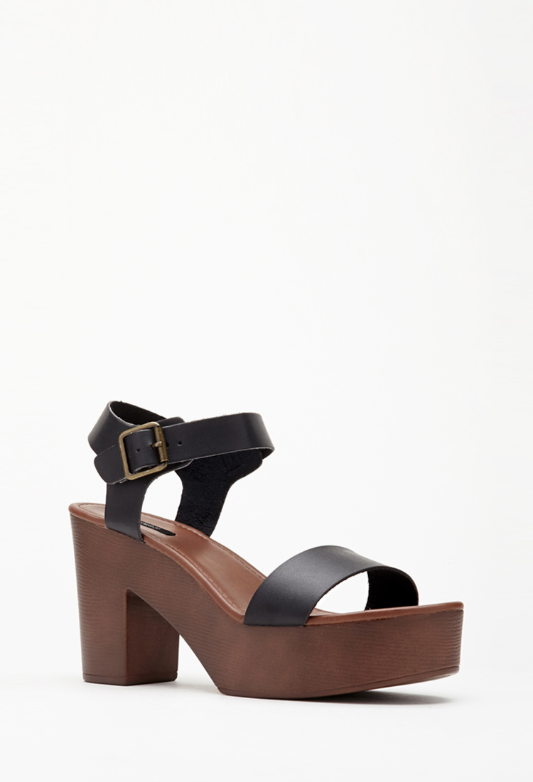 19e625b8a72 Lyst - Forever 21 Faux Leather Strappy Platform Sandals in Black
