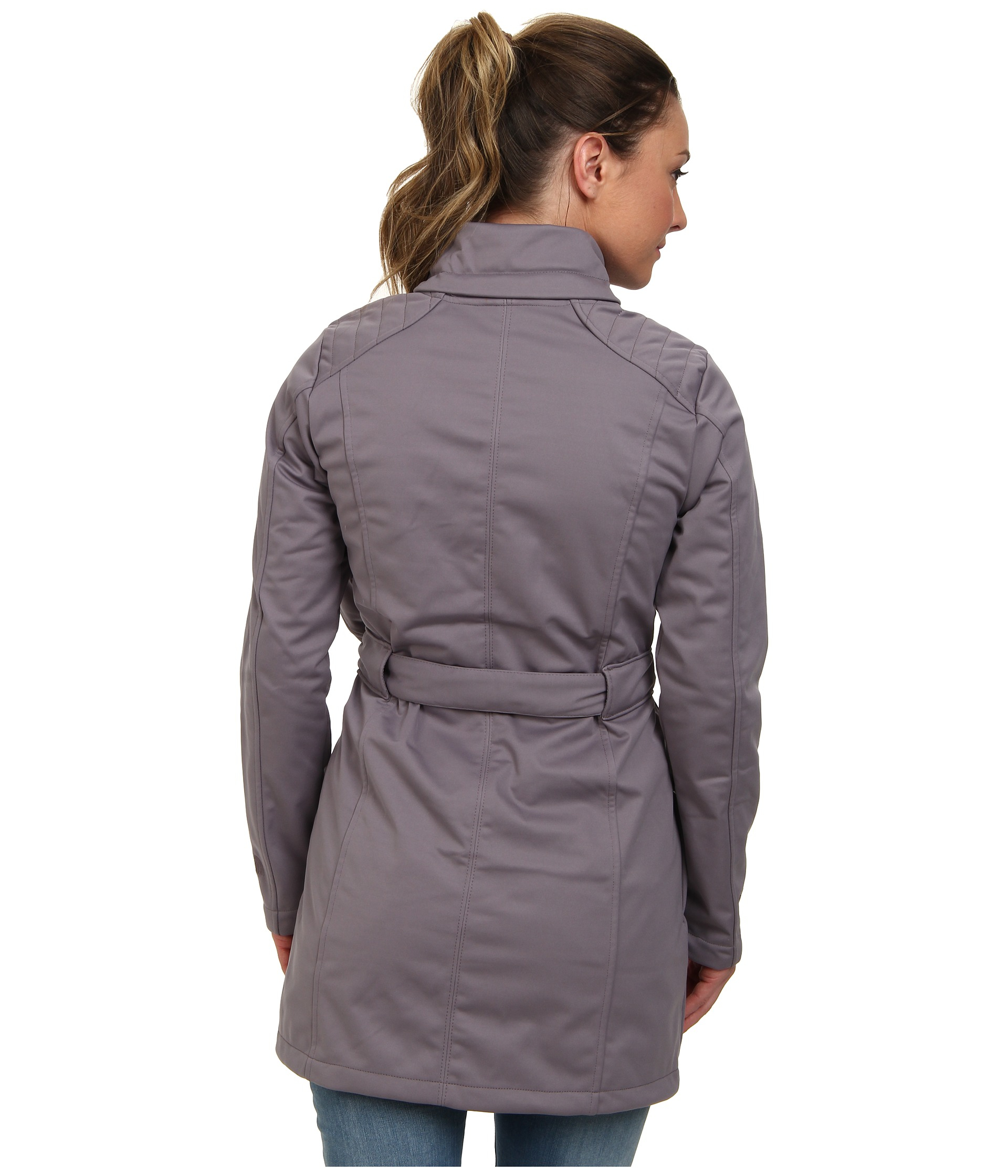 the north face sashanna soft shell jacket in gray lyst. Black Bedroom Furniture Sets. Home Design Ideas
