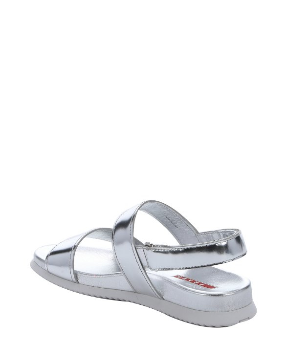 shop for for sale footlocker pictures online Prada Sport Metallic Leather Slide Sandals cheap real finishline outlet best store to get free shipping fashionable nTlRXd