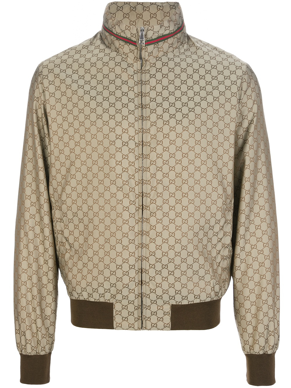 a84688e18 Gucci Logo Print Bomber Jacket in Metallic for Men - Lyst