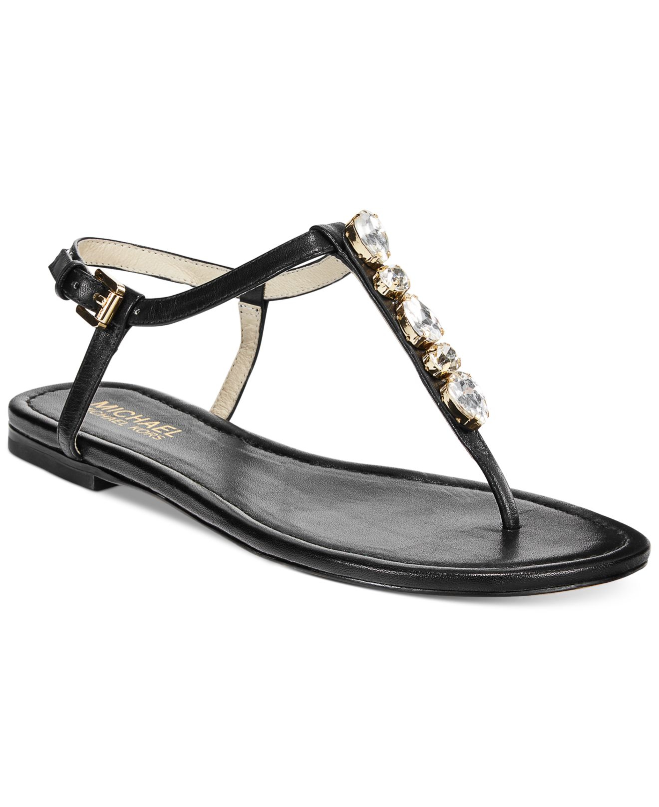 17c7804b1 Lyst - Michael Kors Michael Jayden Jeweled Flat Thong Sandals in Pink