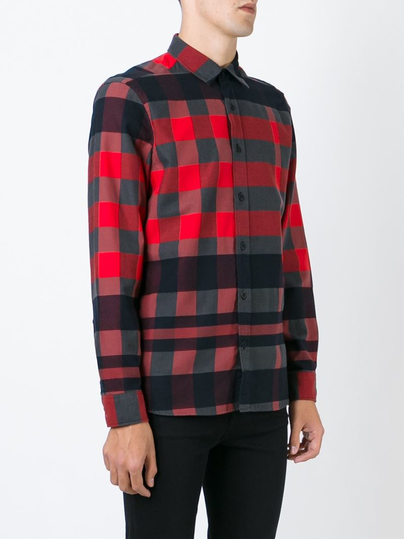Lyst burberry brit checked shirt in red for men for Burberry brit checked shirt