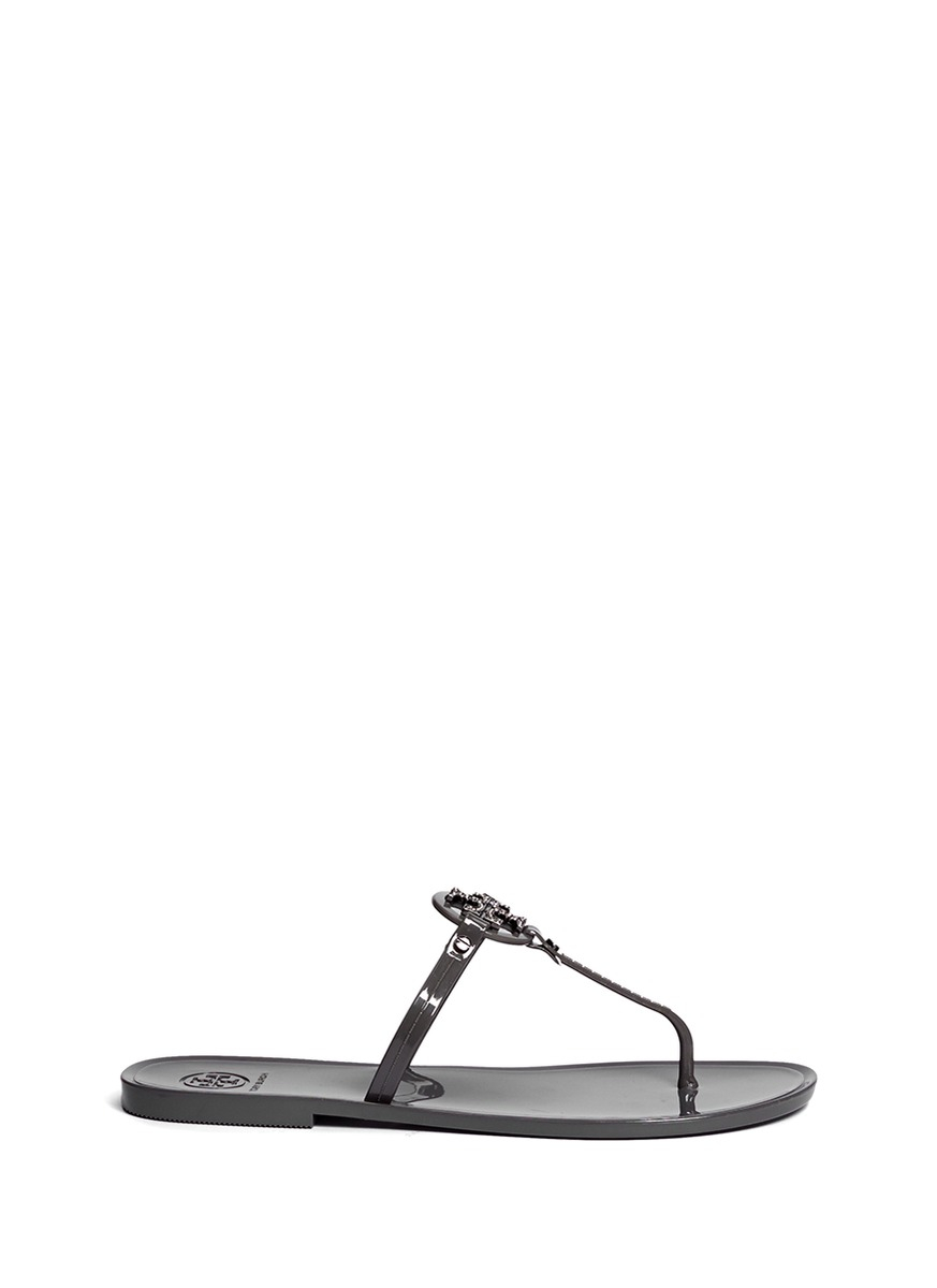 Lyst Tory Burch Mini Miller Jelly Thong Sandals In Gray