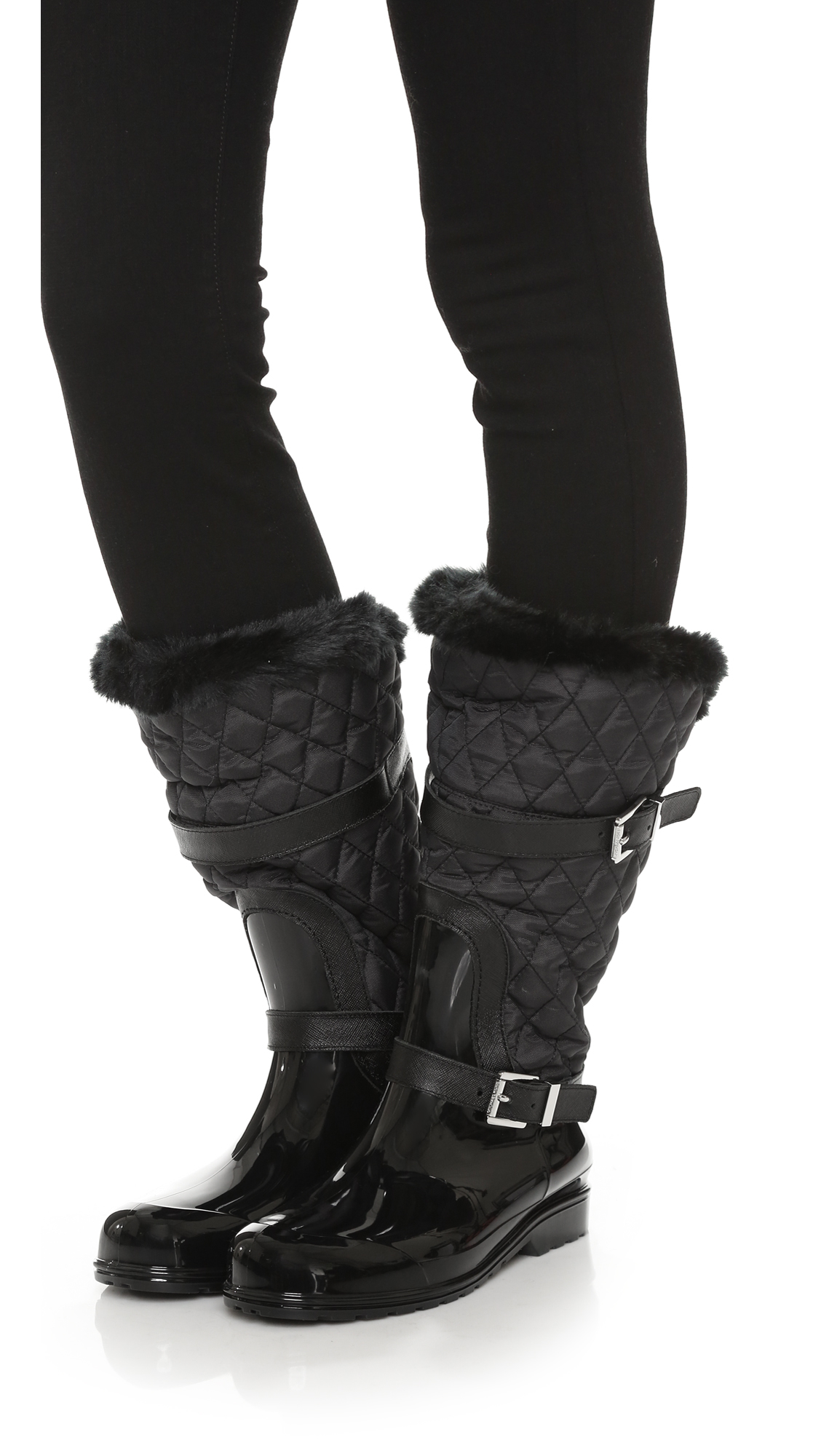 Lyst Michael Michael Kors Fulton Quilted Mid Rain Boots