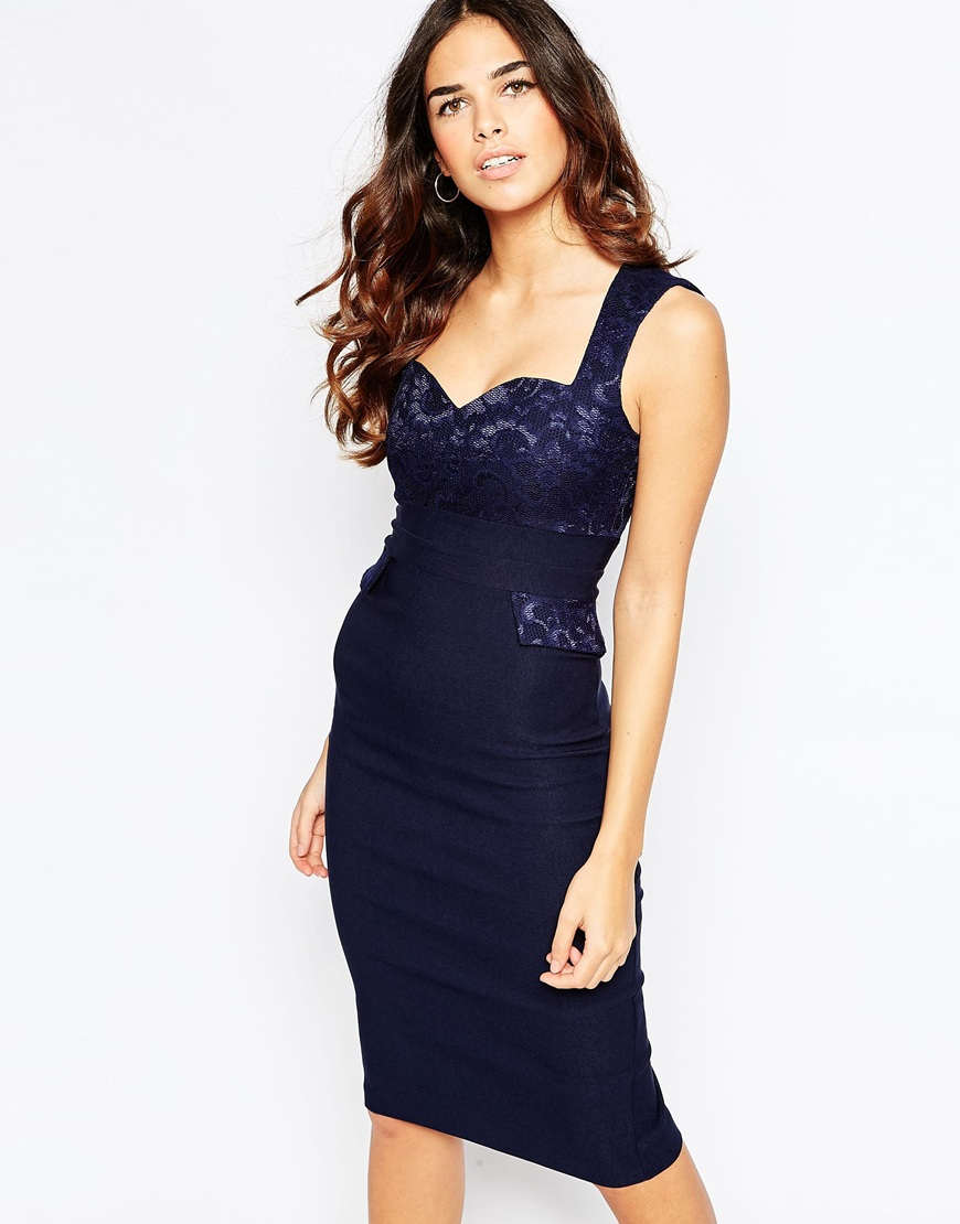 Taylor Midi Dress With Lace Sweetheart Neckline And Pocket Detail