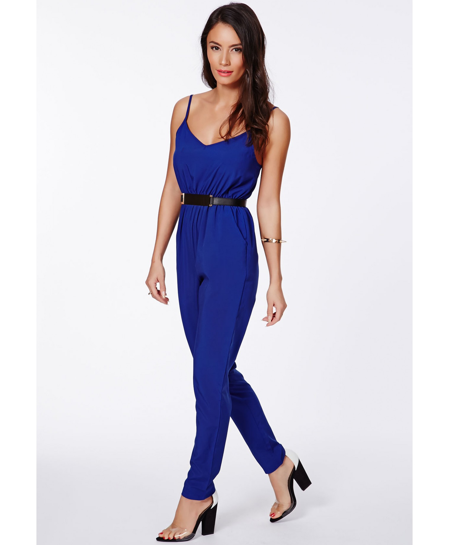 Missguided Kelsey Cobalt Blue Tailored Strappy Jumpsuit in Blue | Lyst