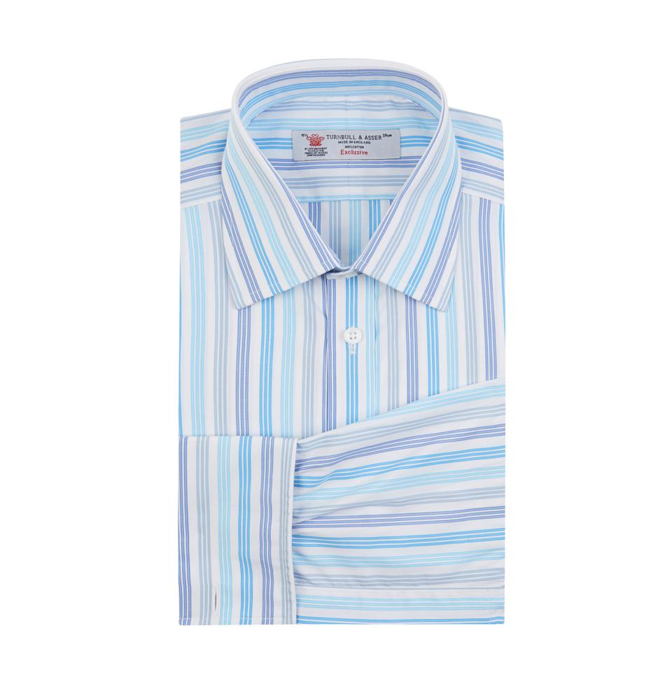 Turnbull asser blue and turquoise multi stripe shirt for Aqua blue mens dress shirt