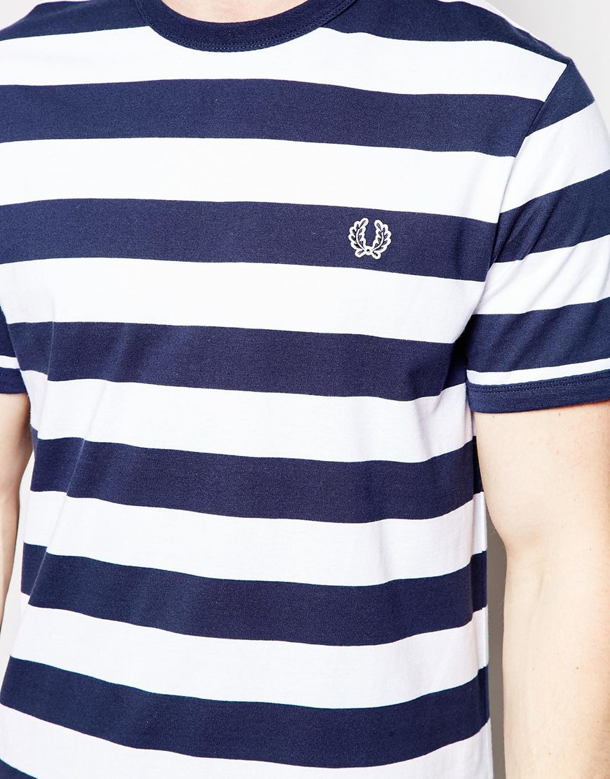 ec93abcf0c Fred Perry T-shirt With Bold Stripe in Blue for Men - Lyst
