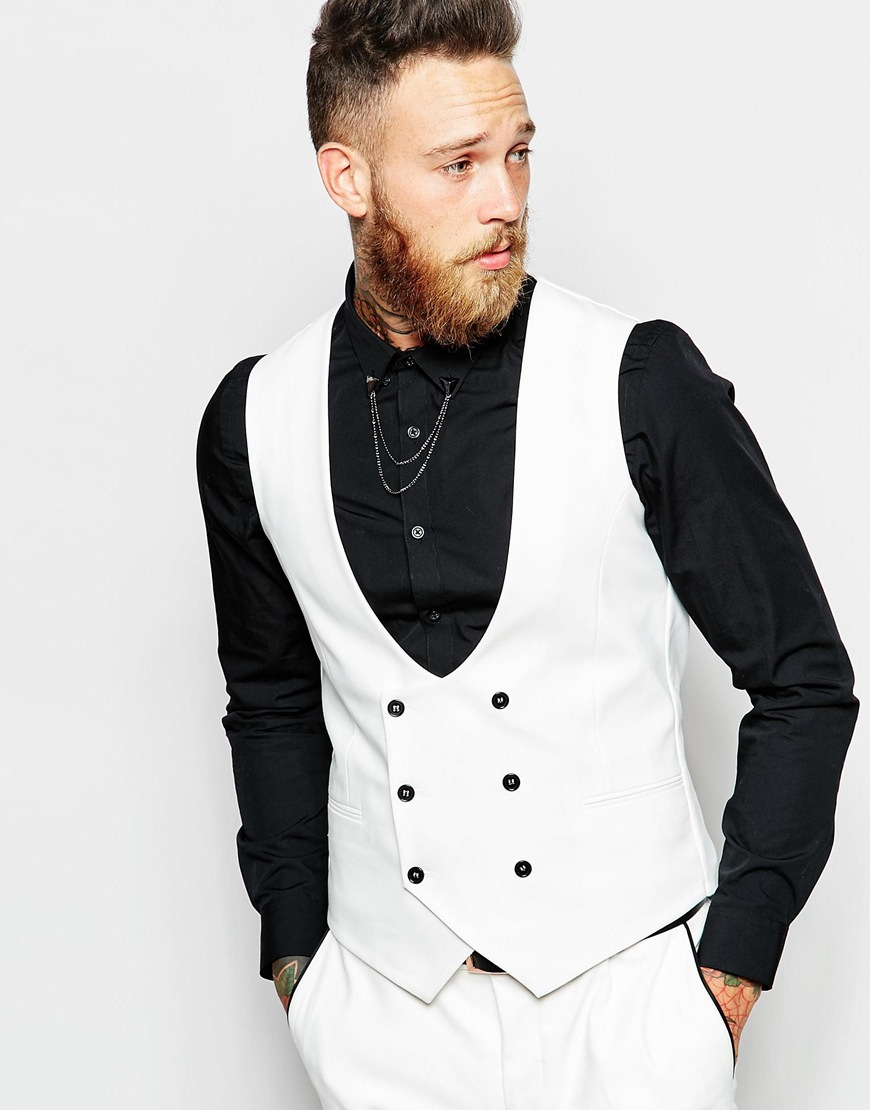 Noose and monkey Tuxedo Waistcoat In Super Skinny Fit in White for ...