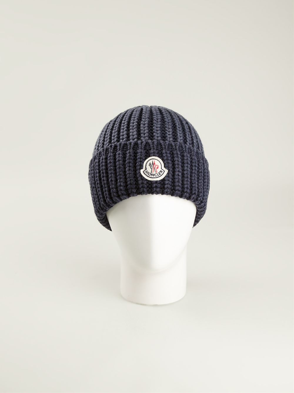 Lyst - Moncler Ribbed Beanie in Blue for Men 1ed08c6650f
