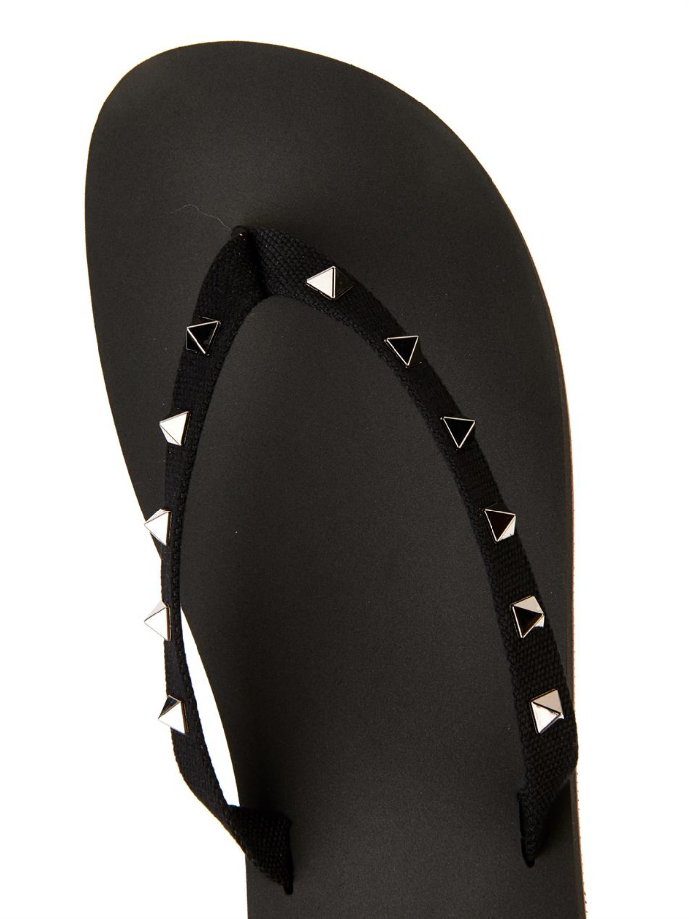 Valentino Studded Canvas And Rubber Flip-Flops In Black -4288