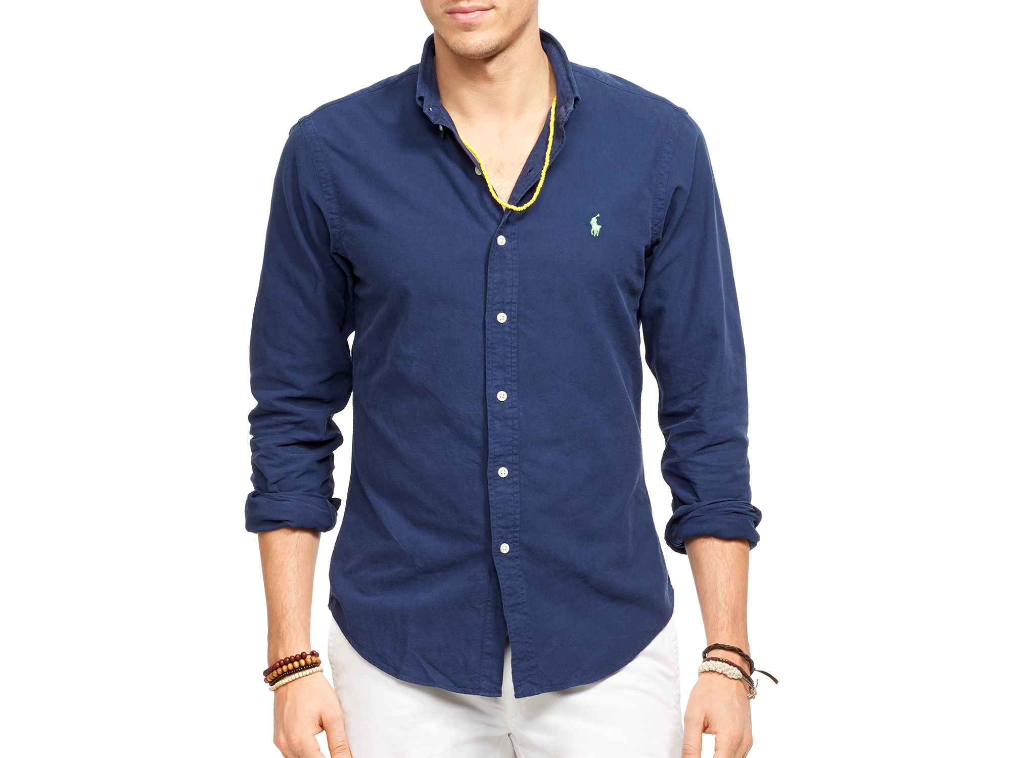 3d814103 Polo Ralph Lauren Blue Oxford Shirt - Slim Fit for men