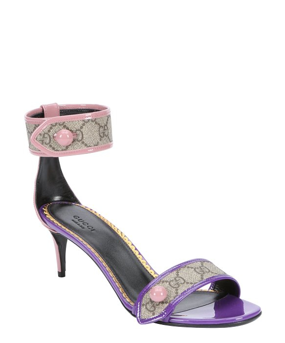 Gucci Beige Gg Canvas And Purple Leather Kitten Heel Sandals in Pink - Lyst 4428b237e