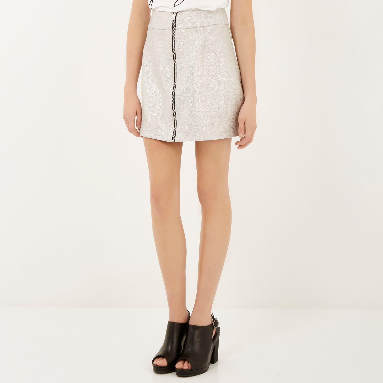 River island Metallic Silver Zip Front A-line Mini Skirt in ...