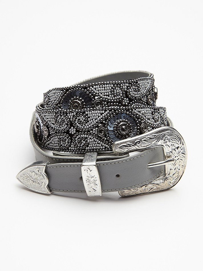 Free people embellished western belt in gray lyst for Banana republic torino