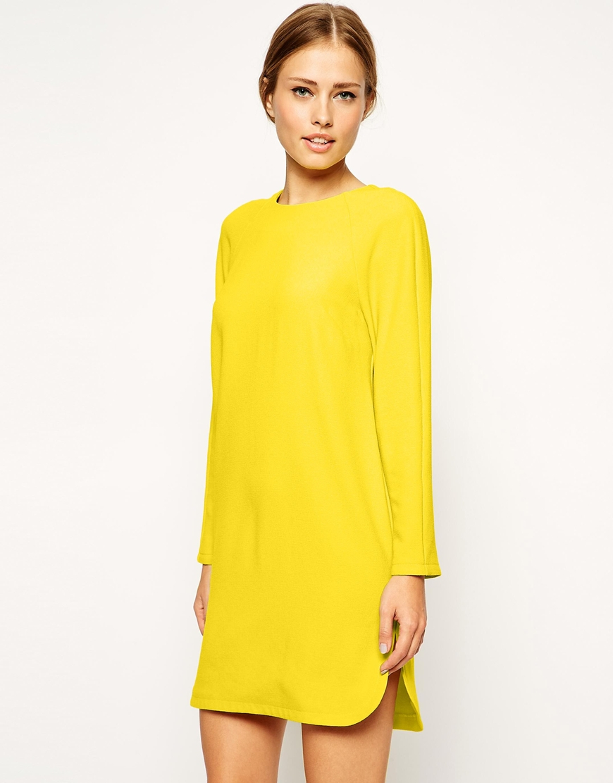Lyst Asos Shift Dress In Crepe With Cut Out Back In Yellow