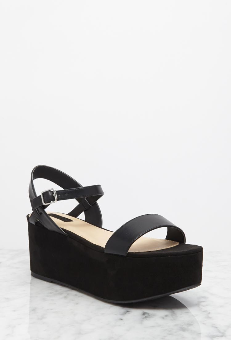 black suede flatforms